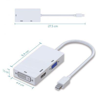 Mini Displayport to DVI VGA HDMI Ankola多機能変換アダプタ ビデオアダプタ ケーブル